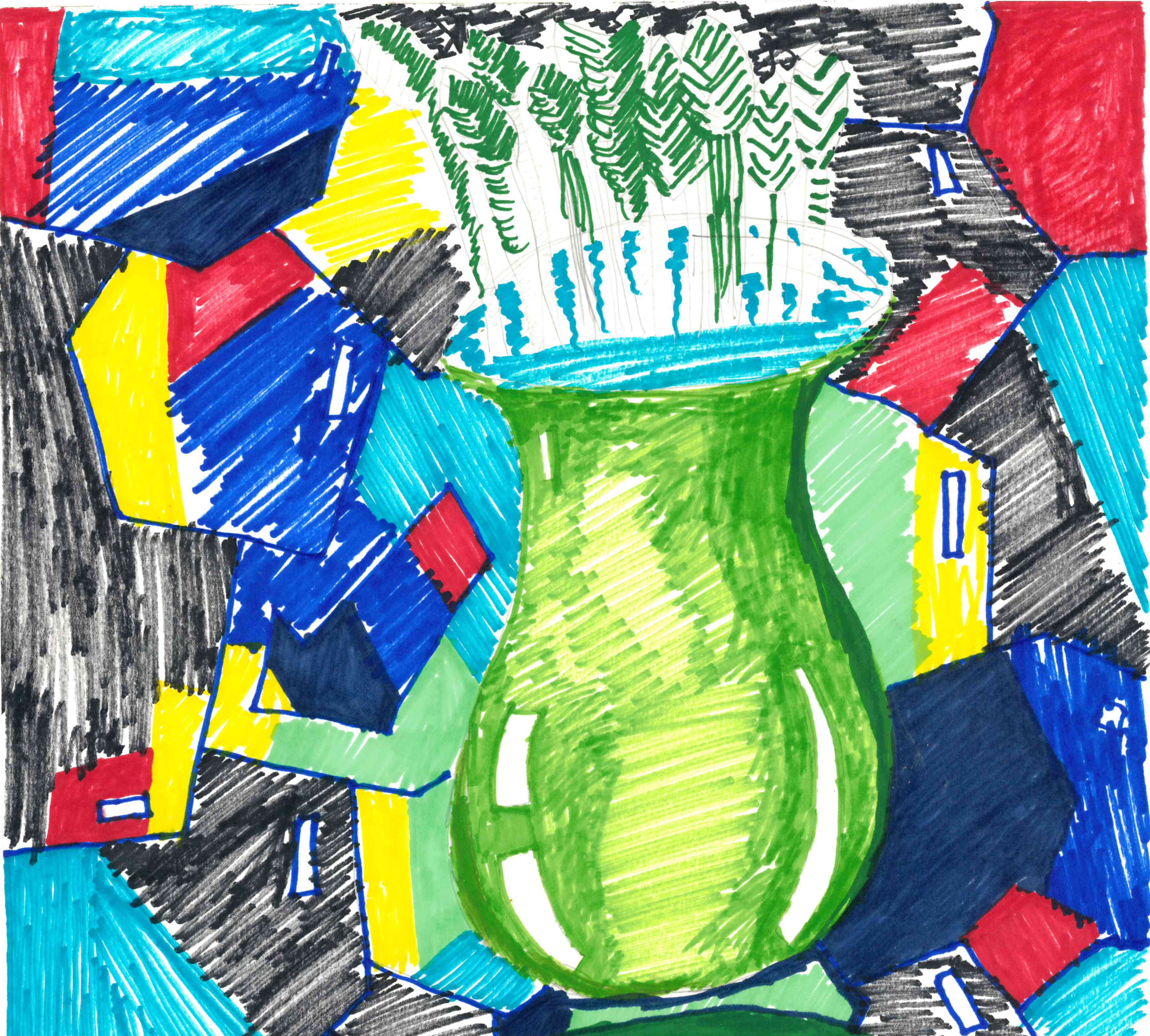 Marker drawing of a vase by Jeffrey Wales