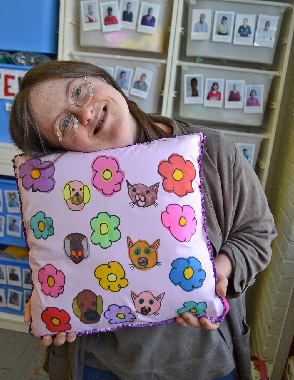 Beth Knipstein with her pillow