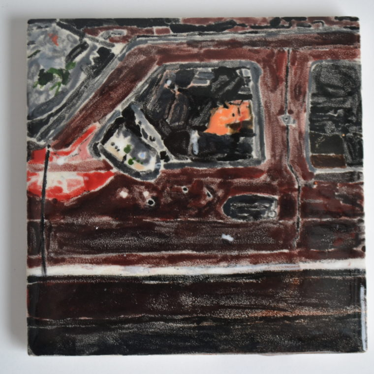 Dead man in car tile by Neri Avraham