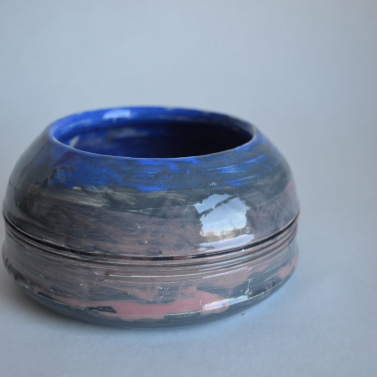 Blue and purple bowl by Ona Stewart
