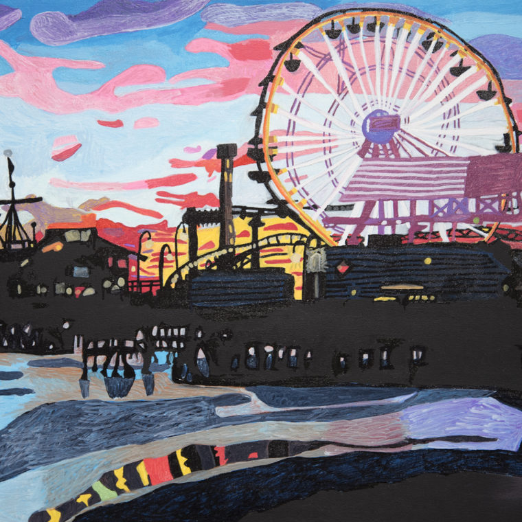Santa Monica at Sunset by Beatrice Farah