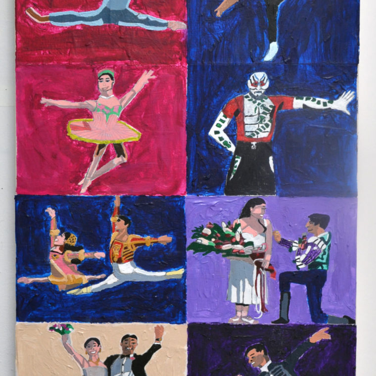 Colleen McFarland. A Story Of Two Dancers. Acrylic and collage on canvas. 2019.