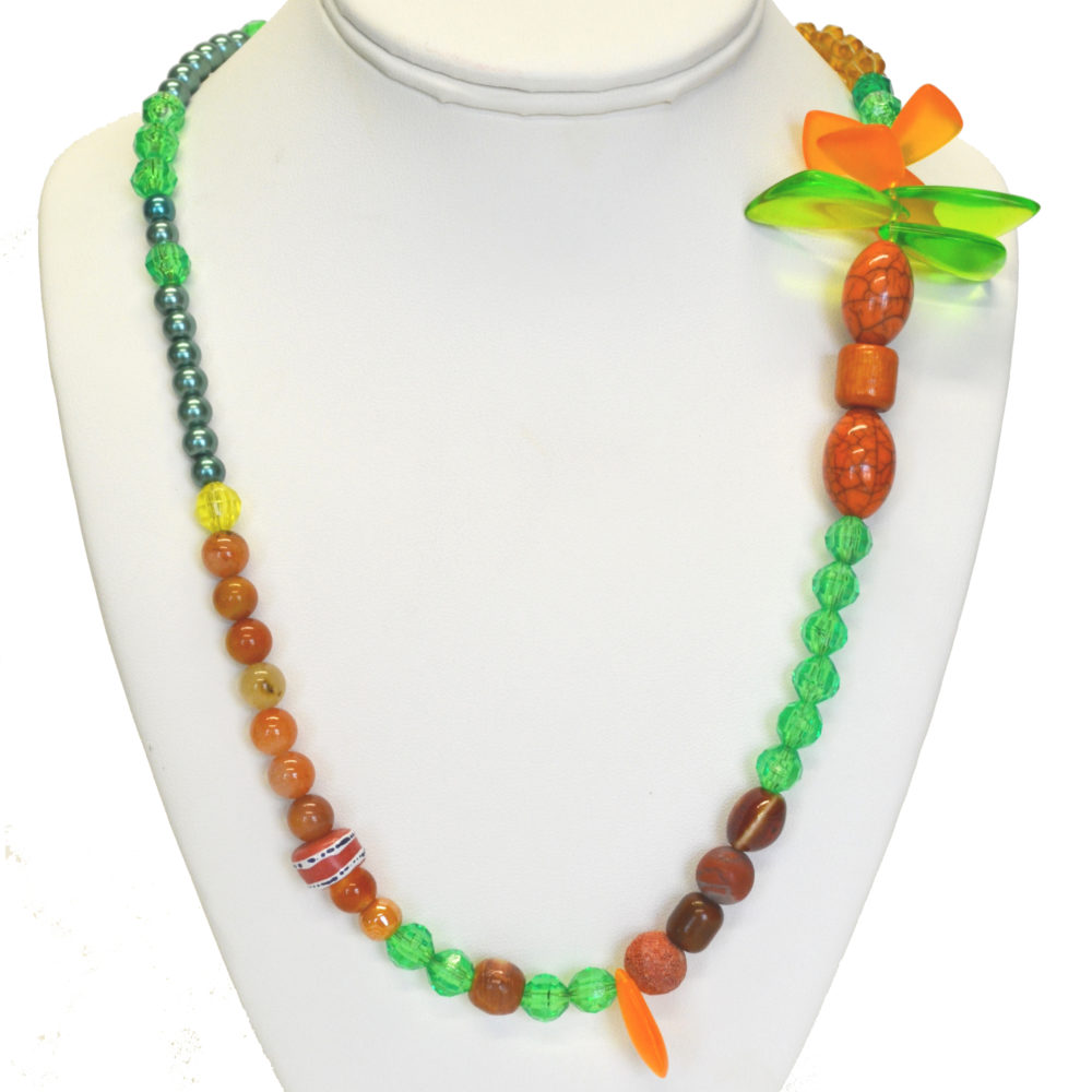 Orange and green necklace by Alexis Cofield