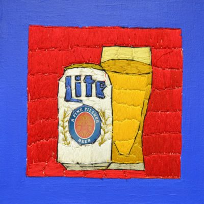 Miller Lite embroidery by Alison Doucette