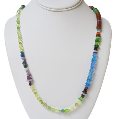 Glass and stone necklace by Amy Caliri
