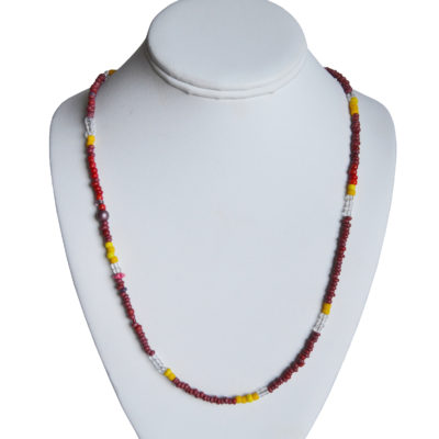 Red and yellow necklace by Amy Caliri