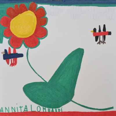 Untitled (orange flower and two birds) by Annita Lombardi