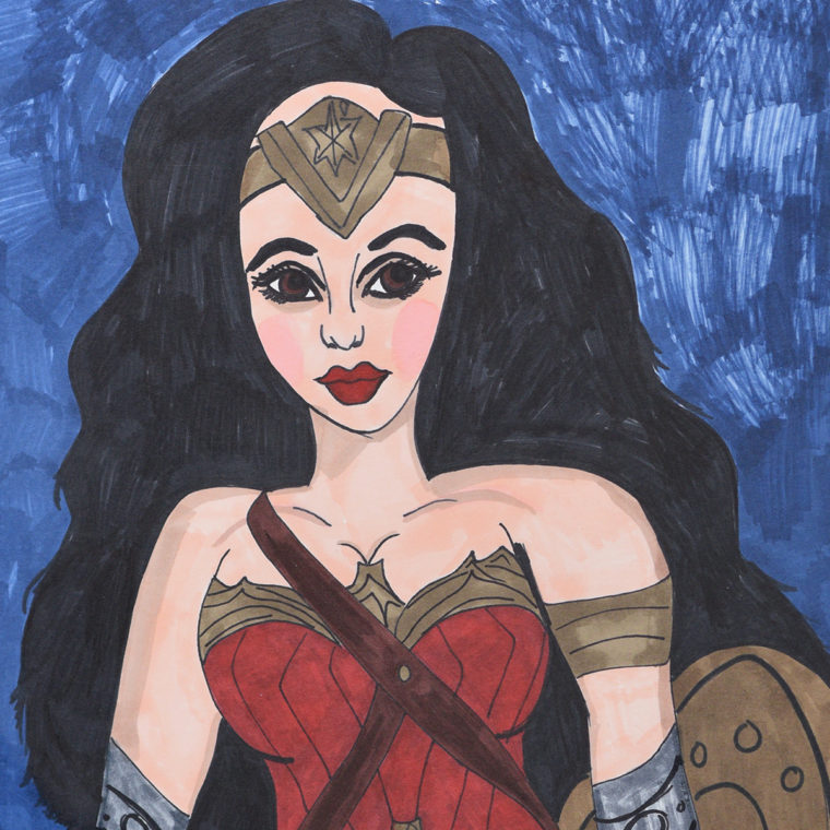 Ashley Barbour. Wonder Woman. Marker on paper. 2018.
