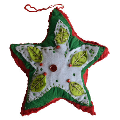Christmas star soft sculpture/pillow by Barbara Brown