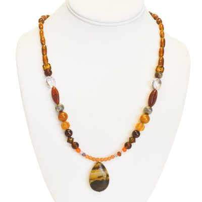 Striated stone necklace by Barbara Brown