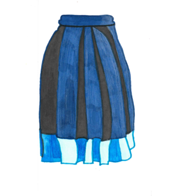 Blue skirt drawing by Beatrice Farah