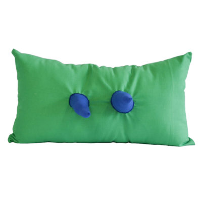 Green pillow with blue spikes by Becky Geller