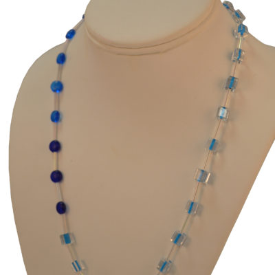 Blue and clear beads necklace by Beth Knipstein