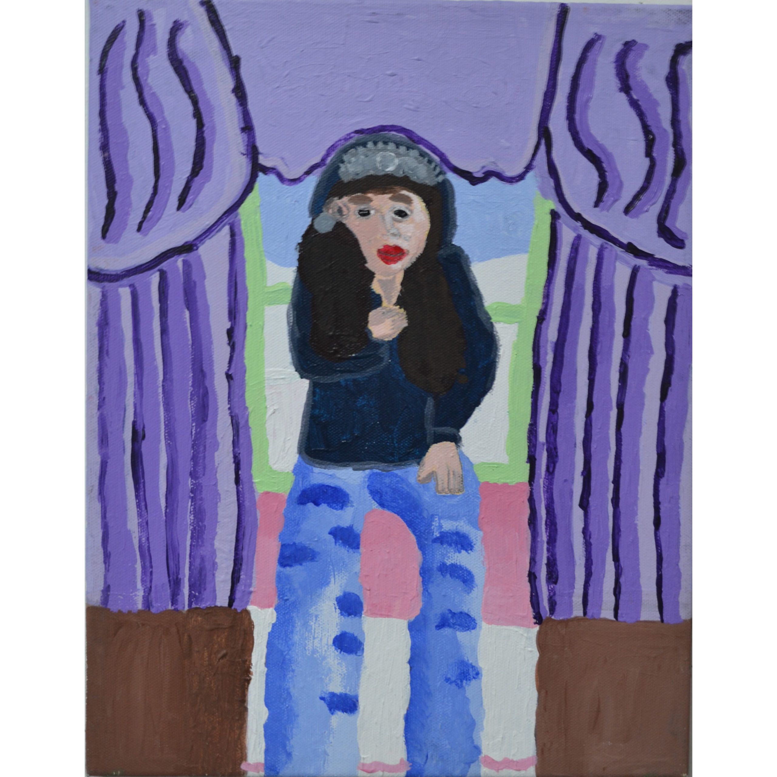 Untitled (girl with curtain) by Betty Antoine