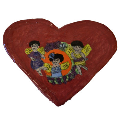 Heart and cherubs plaque by Betty Antoine