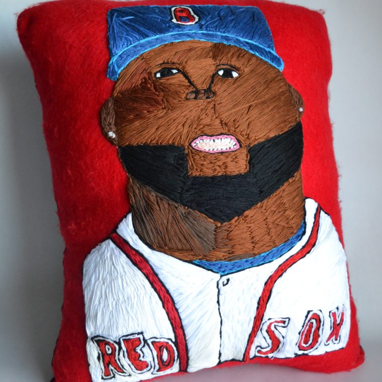 Big Papi embroidered pillow by Brenda Sepulveda