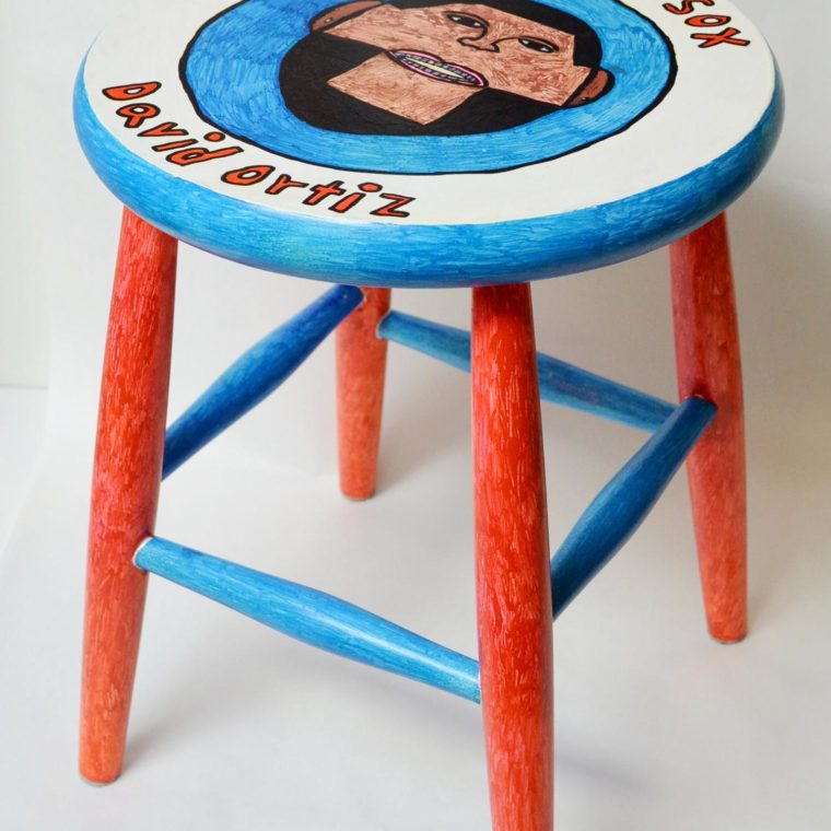 David Ortiz painted stool by Brenda Sepulveda.