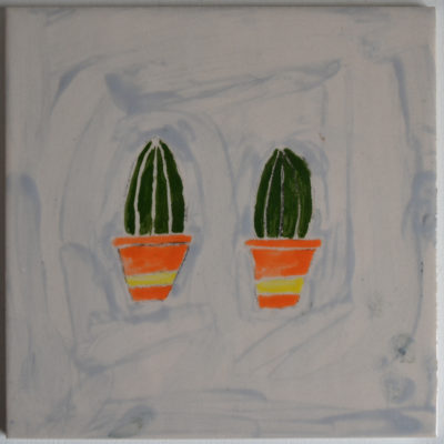 Ceramic cacti tile by Carl Phillips