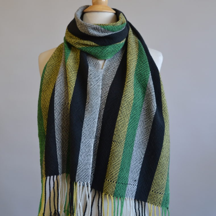 Green and black cotton scarves