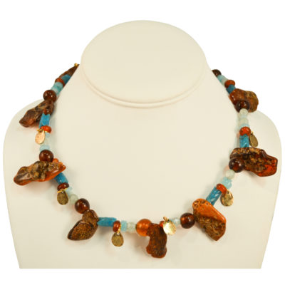Amber and blue necklace by Carmen Martinez