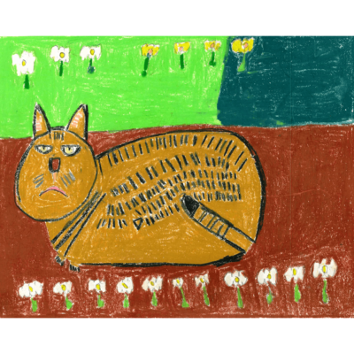 Spring Drawing 1 (cat and flowers) by Carmen Martinez