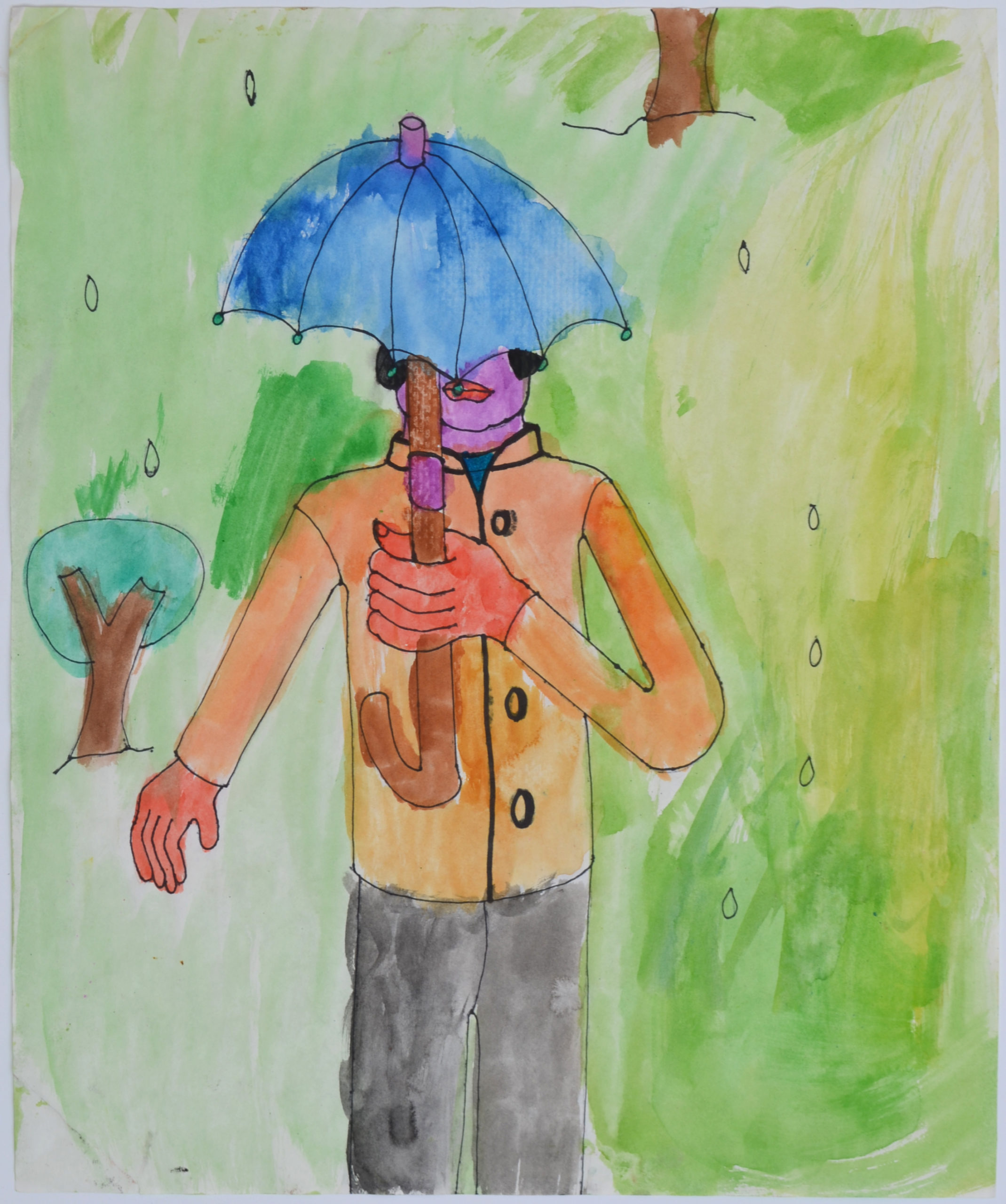 Untitled person with umbrella by Cathy Anderson
