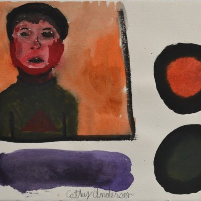 Untitled (figure with color spots) by Cathy Anderson