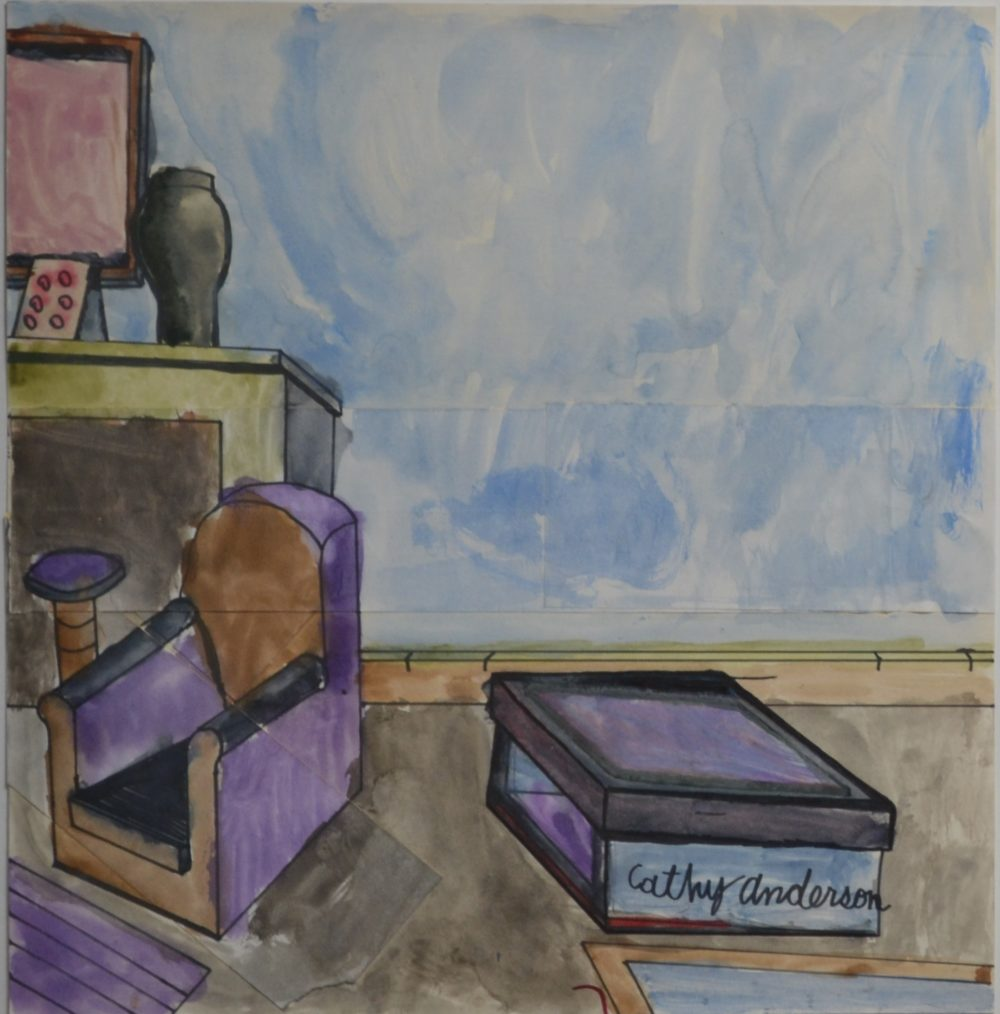 Untitled watercolor interior by Cathy Anderson