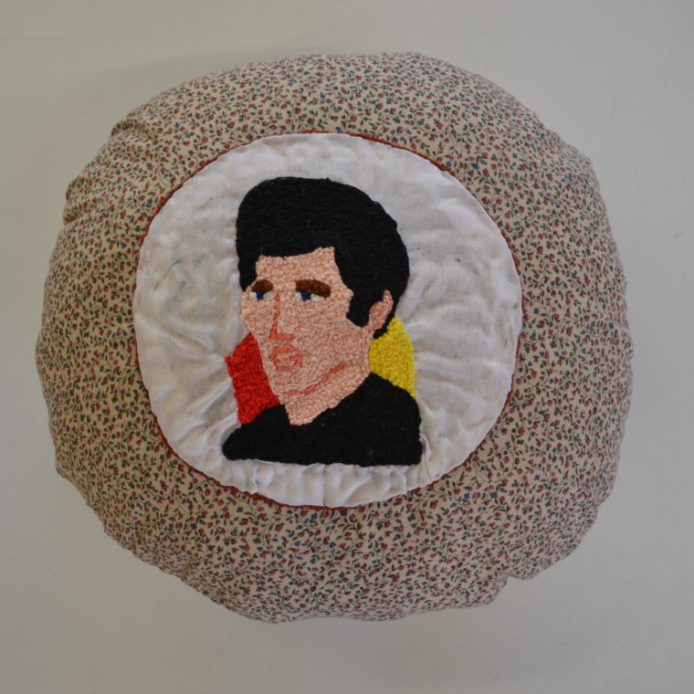 Chelsea von Harder. John Travolta. Embroidery on pillow. 2018.