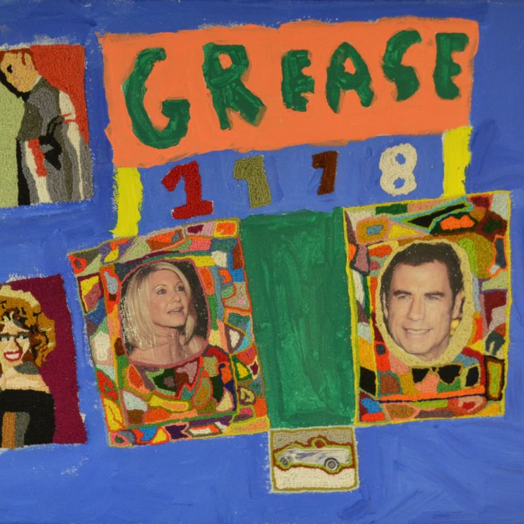 Chelsea von Harder. Grease. Acrylic, embroidery, and collage on canvas. 2019.
