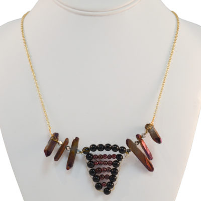 Bead weaving and crystals necklace by Darryl Richards