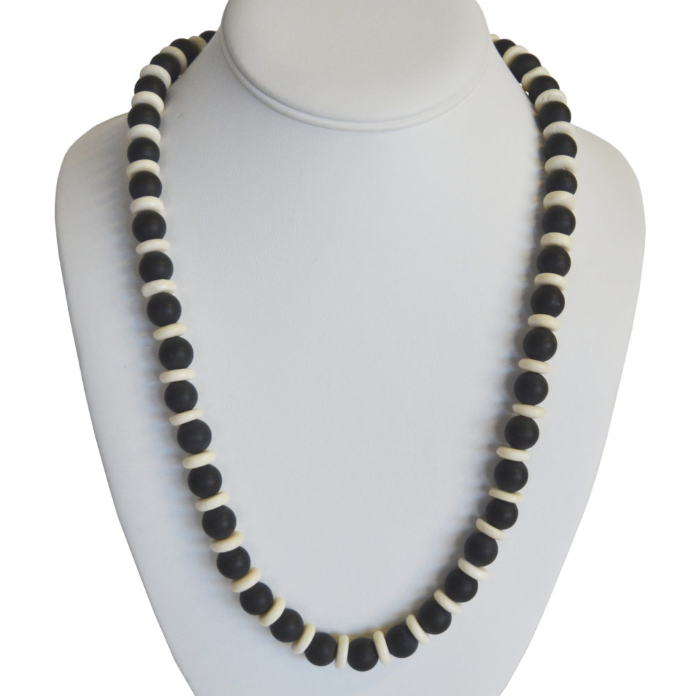 Black and white necklace by Debra Belsky