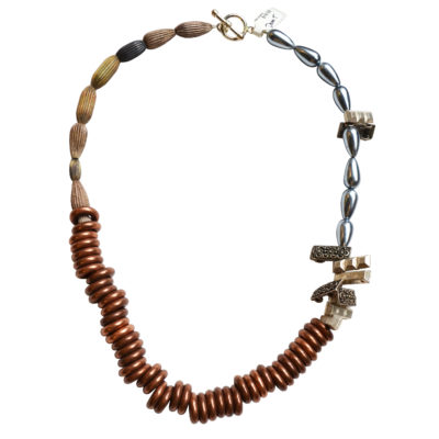 Copper beads necklace by Dominic Tufo