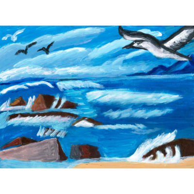 Untitled seagulls painting by Donna Esolen