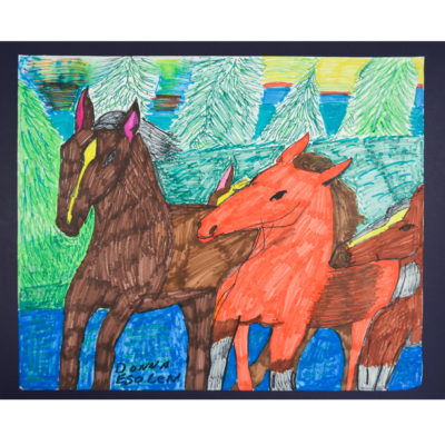 Untitled horses drawing by Donna Esolen