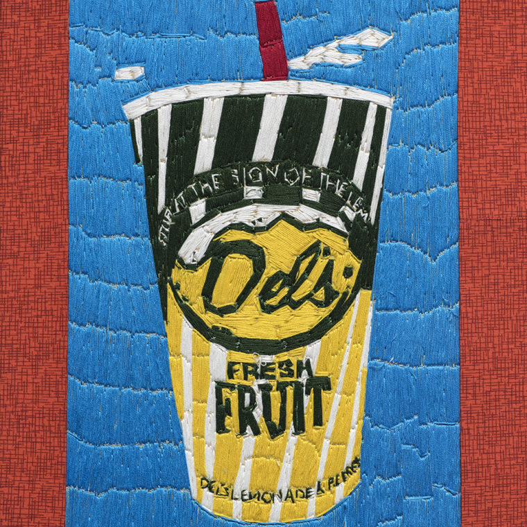 Alison Doucette. Del's Lemonade. Embroidery and acrylic on canvas.
