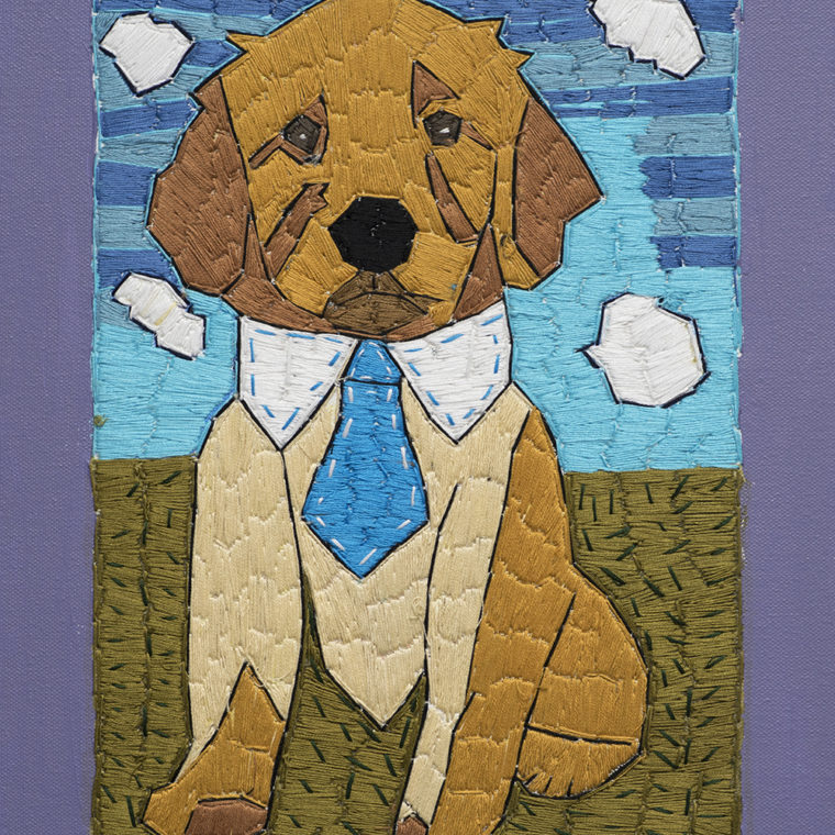 Alison Doucette. Dog. Embroidery and acrylic on canvas. 2018.