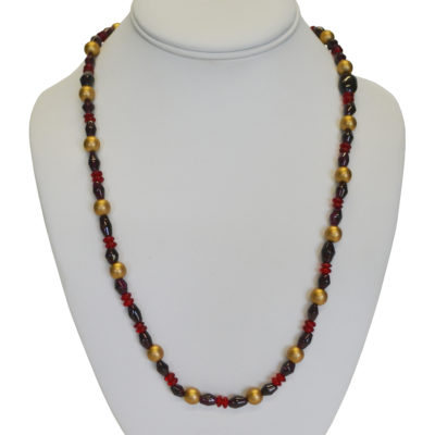 Red, purple and gold necklace by Edgardo Vasquez