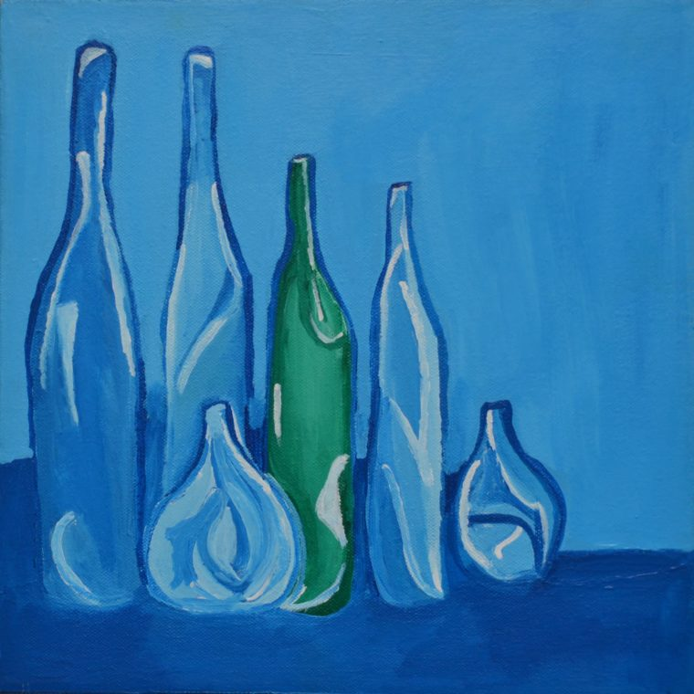 Untitled (blue bottles) by Farah Faustin