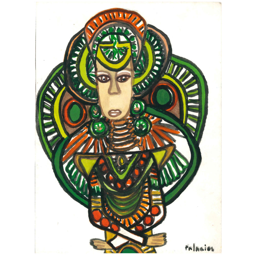 Untitled green and brown watercolor painting by Gilberto Palacios