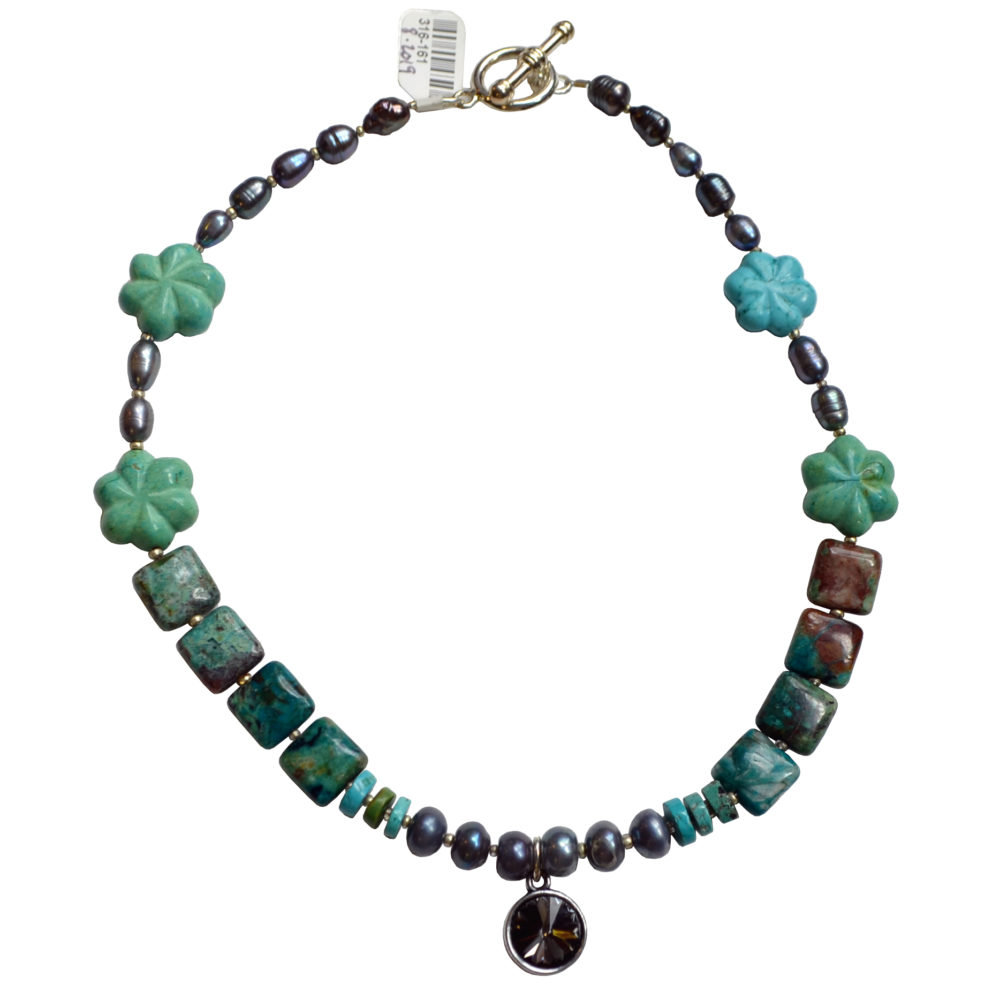 Turquoise and pearl choker by Giovanni Ricci
