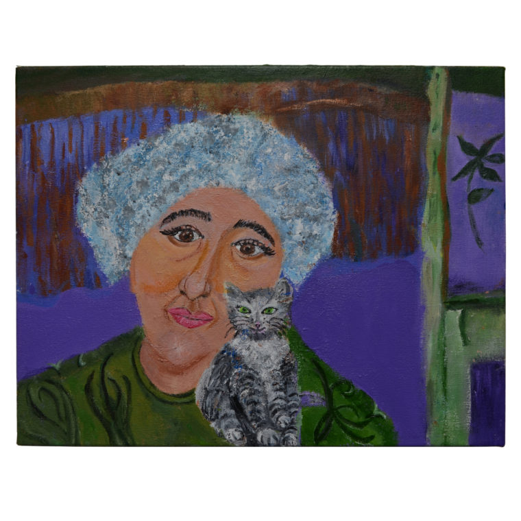 cat and woman painting by Jane Tarlow