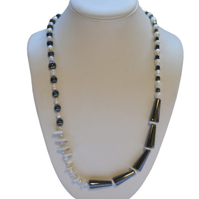 Hematite and pearl necklace by Janet Inman
