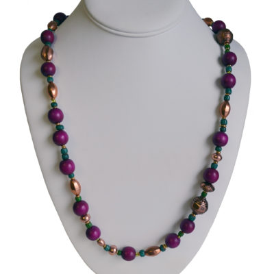 Magenta green and copper necklace by Janet Inman