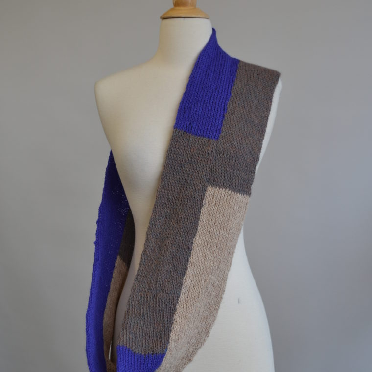 Purple and grey knit scarf by Joe Howe