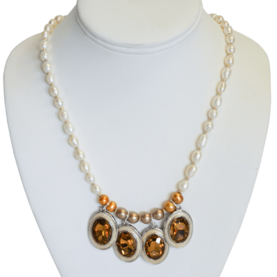 Yellow jewels and pearls necklace by Giovanni John Ricci