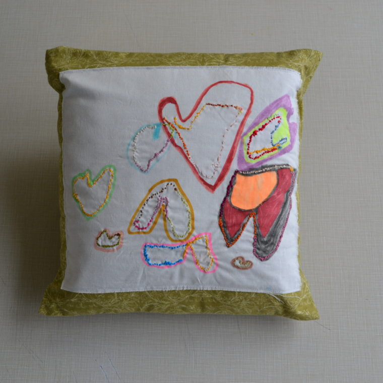 Jordan Caira. Pillow. Embroidery and fabric marker. 2019.