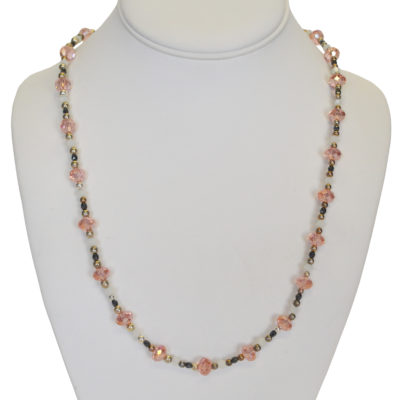Pink crystal necklace by Jordana Simpson