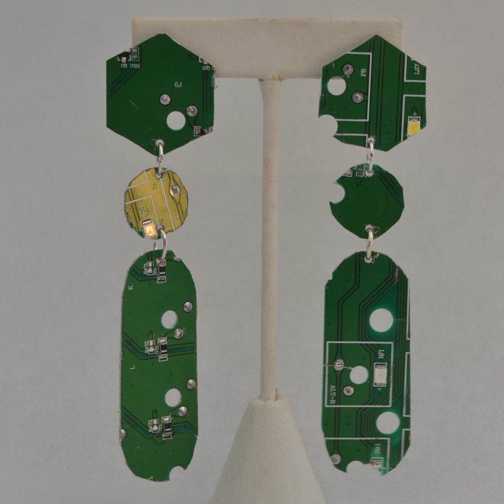 Post earrings by Josie Sosa made from motherboard