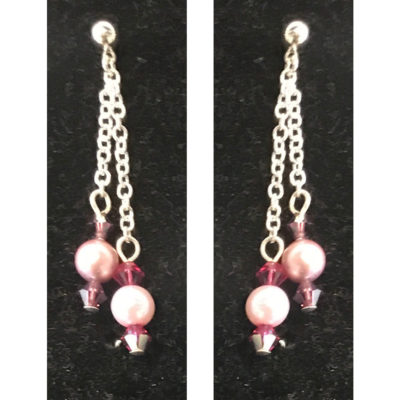 earrings with pink beads by Judy Phillips